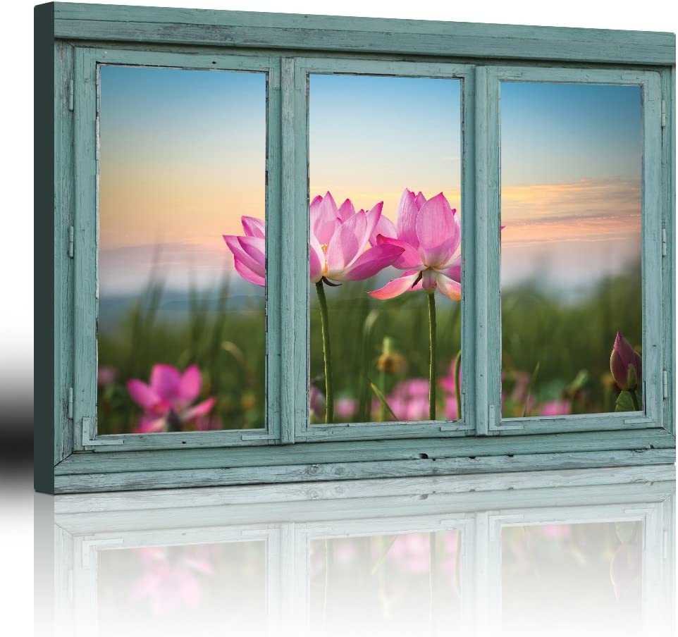 wall26 - Vintage Teal Window Looking Out Into a Field of Lotus Flowers - Canvas Art Home Art - 24x36 inches