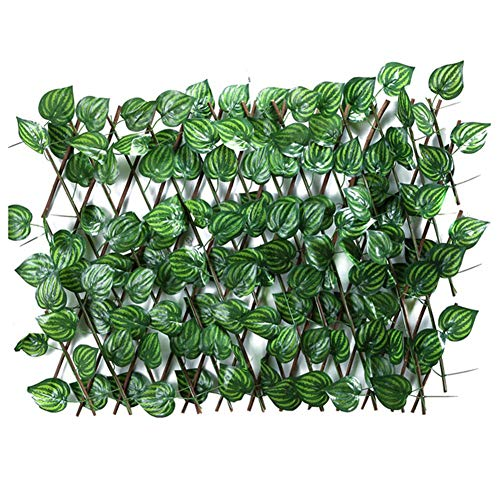Wood.L Trellis Fence Panels, Expanding Trellis Fence Retractable Fence With Artificial Ivy Leaves Fence UV Protected Privacy Screen For Outdoor Indoor Use Backyard Home Decor Greenery Walls