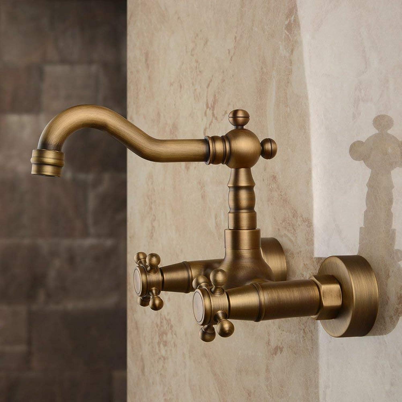 Marcu Home Wasserhhne Wandmontage aus massivem Messing Küchenmischer Wasserhhne inspiriert Waschbecken Wasserhhne, Antik Messing Finish