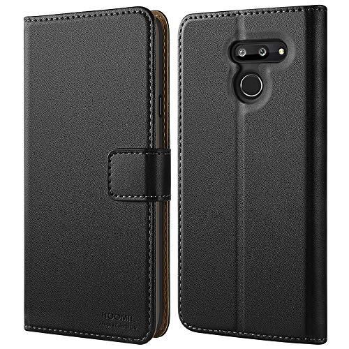 HOOMIL Handyhülle für LG G8 ThinQ Hülle, Premium PU Leder Flip Schutzhülle für LG G8 ThinQ Tasche, Schwarz