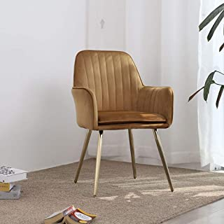 Lansen Furniture Modern Living Dining Room Accent Arm Chairs Club Guest with Gold Metal Legs (Camel)