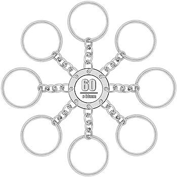 Foonii 60 pcs Anillo de Llavero Aleaci/ón Plateada con Cadenas Artesan/ía 25mm ideal para artesan/ías