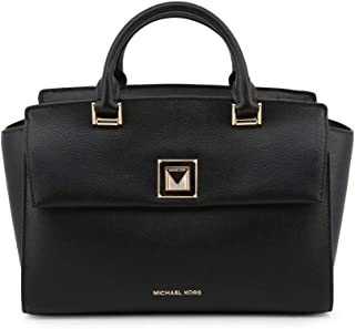 Michael Kors 30S9GYLS2L-001 Sylvia Medium Crossgrain Leather Satchel, Black