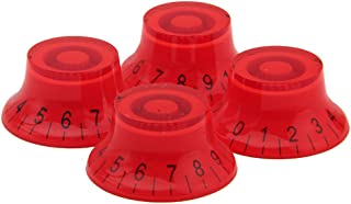 Kmise MI0155H4 4-Piece Red ABS Top Hat Guitar Speed Bell Knob Volume Tone Control Knob 6mm