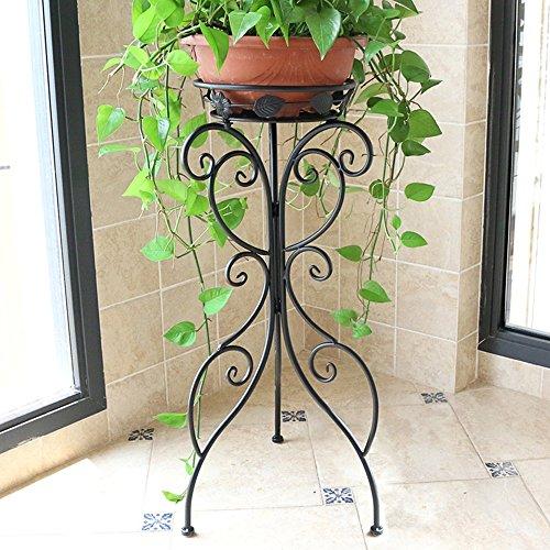 Étagère à fleurs en fer à repasser en style européen salon - plancher - balcon au sol balustrade intérieure et extérieure (Couleur : NOIR, taille : 24 * 35 * 70cm)