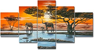 Wieco Art Elephant Family Large Modern 5 Piece Gallery Wrapped African Landscape Giclee Canvas Prints Artwork Animals Paintings Reproduction Pictures on Canvas Wall Art for Bedroom Home Decor L
