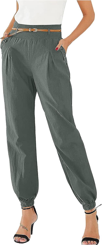 Women's Casual Pants Bloomers Pockets Elastic Waist Trousers Harem Pants