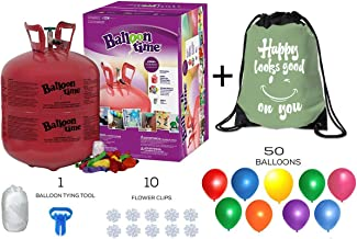 Balloon Time Disposable Helium Tank 14.9 cu.ft - 50 Latex Balloons + Balloon Tying Tool + Curling Ribbon + 10 Clips + Drawstring Backpack Bag