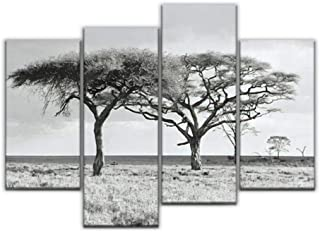 4 Panel The lofty trees in Crater Ngorongoro National Park Tanzania black Canvas Pictures Home Decor Gifts Canvas Wall Art...