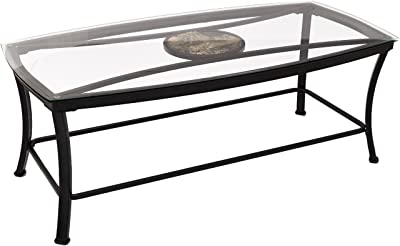 Adeco Glass & Black Metal Occasional Tea/Coffee Table, Metal Frame is Black