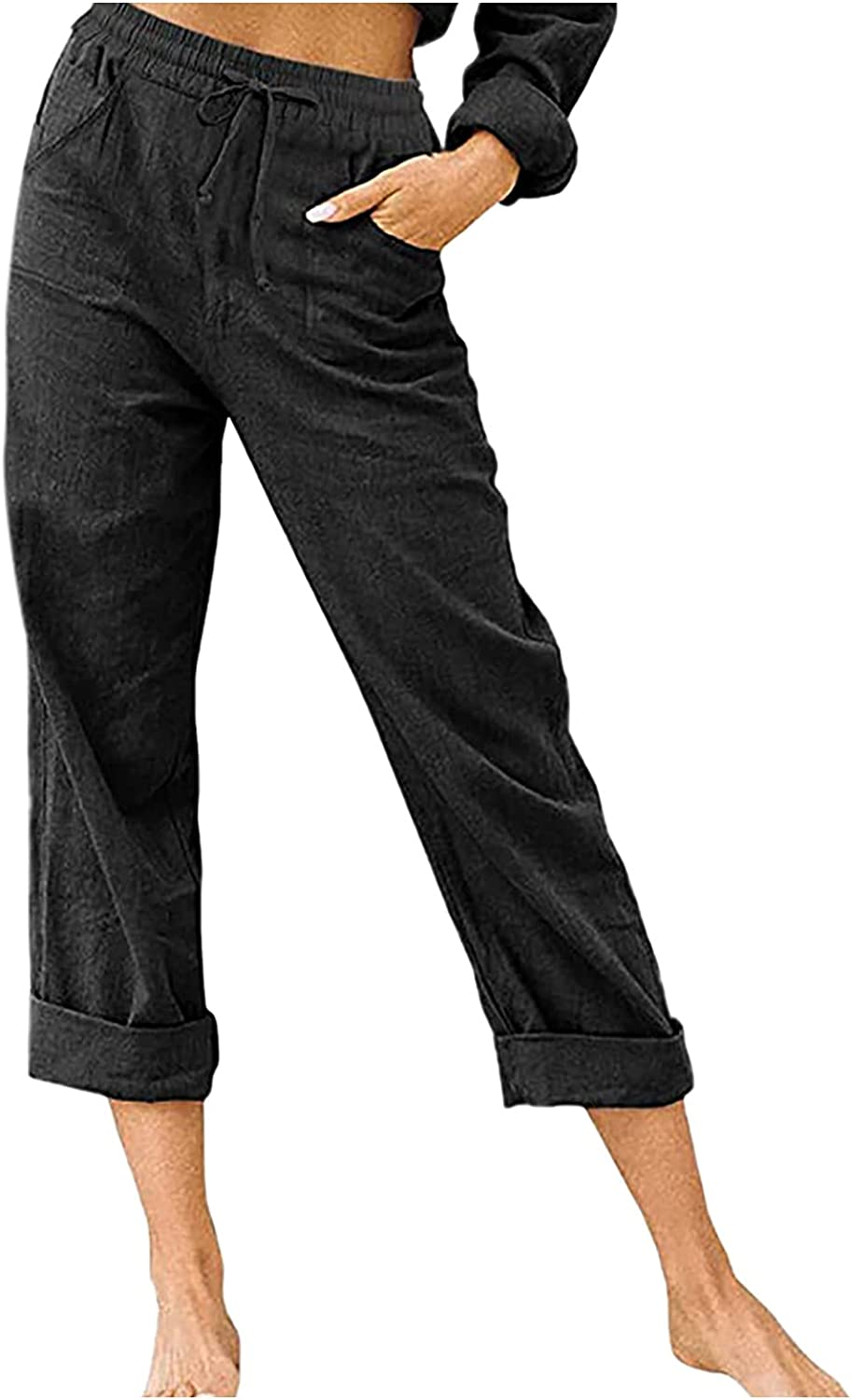 Women's Pure Color Straight Leg Pant Casual Trousers Lounge Pants Drawstring High Waist Loose Comfy