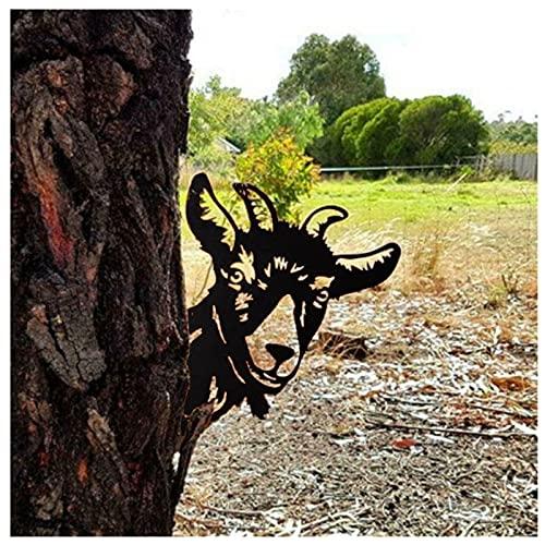 Garten Rostiges Cow/Tiger/Hund/Orang-Utan Tier Spähen- Baumstecker Edelrost Deko 30x20.8cm, Bauernhof gucken Tier Rost Pferd Metallkunst, Metall Rost Gartendeko Outdoor Garten Dekoration (E-Ziege)