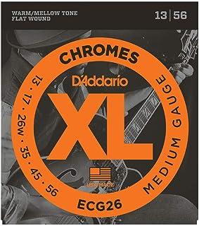 رشته های گیتار الکتریک زخم مسطح D'Addario ECG26 XL Chromes ، سنج متوسط ، 13-56 (1 ست) - زخم روبان و صیقلی برای احساس صاف و گرم ، صدای ملایم - کیف مهر و موم شده از خوردگی جلوگیری می کند