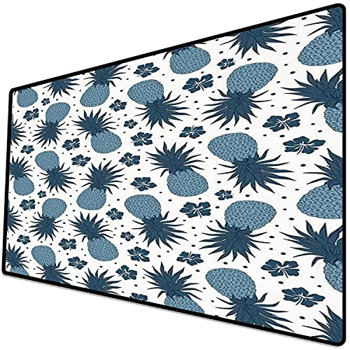 Alfombrilla de ratón (600x300x3 mm) Decoración de piña, patrón de piña Vintage con Flores Patrón de Comida exótica de Verano Obra DEC Superficie Suave y cómoda de la Alfombrilla de ratón para Juegos