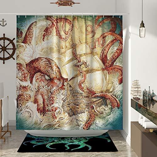 DESIHOM Cooler Octopus Duschvorhang nautischer Anime Kraken Duschvorhang Vintage Pirat Segelboot Duschvorhang Polyester wasserdicht 183 x 183 cm