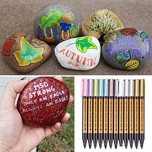 Fabric Markers Pens, Metallic Permanent Markers - Medium Point, for Rock Painting, Black Paper, Gift Card Making, Scrapbooking, Metal, Ceramics, Wine Glass, Set of 12