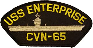 USS ENTERPRISE CVN-65 with SHIP PATCH - Yellow and Silver on Black Background - Veteran Owned Business