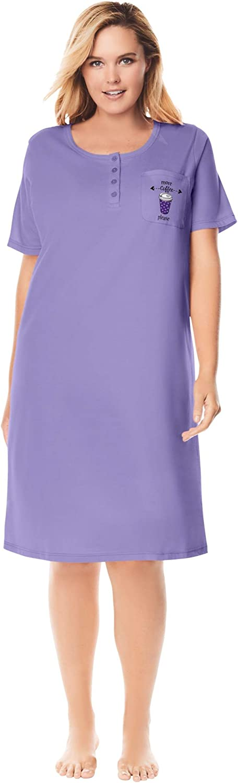 Dreams & Co. Women's Plus Size Cotton Sleepshirt Nightgown