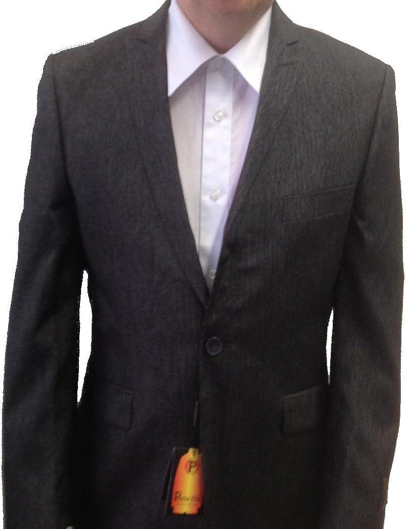 New Men's Black Streaked Super 160's Shiny Sharkskin Dress Suit