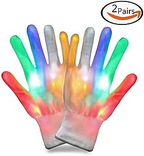2 Packs of Light up LED Flashing Gloves Colorful Finger Light Christmas Halloween Party Costume