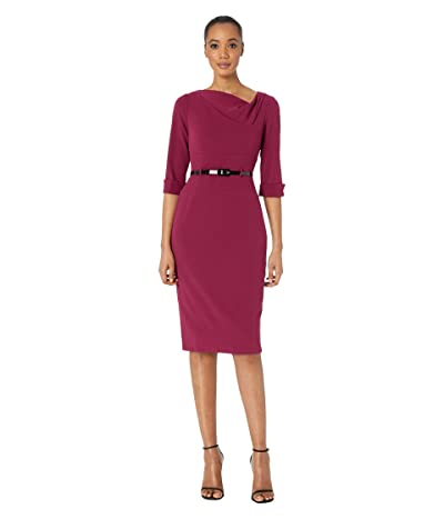 Donna Morgan 3/4 Sleeve Cowl Neck Crepe Midi Dress (Mulberry) Women