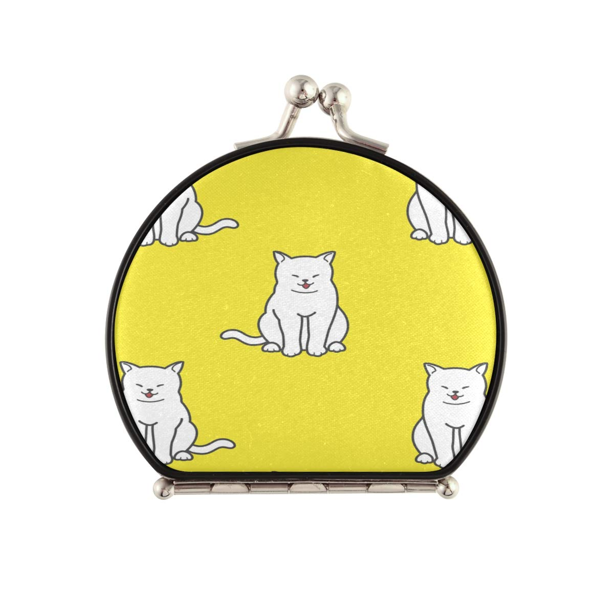 Magnifying Overseas parallel import regular item Compact Cosmetic Mirror Cat Yellow Pock Fresno Mall Pattern Happy