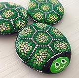 Turtle on a Stone, dotart painted turtle, turtle lovers gift, Painted rocks, garden rocks, house decoration rocks, dotilism
