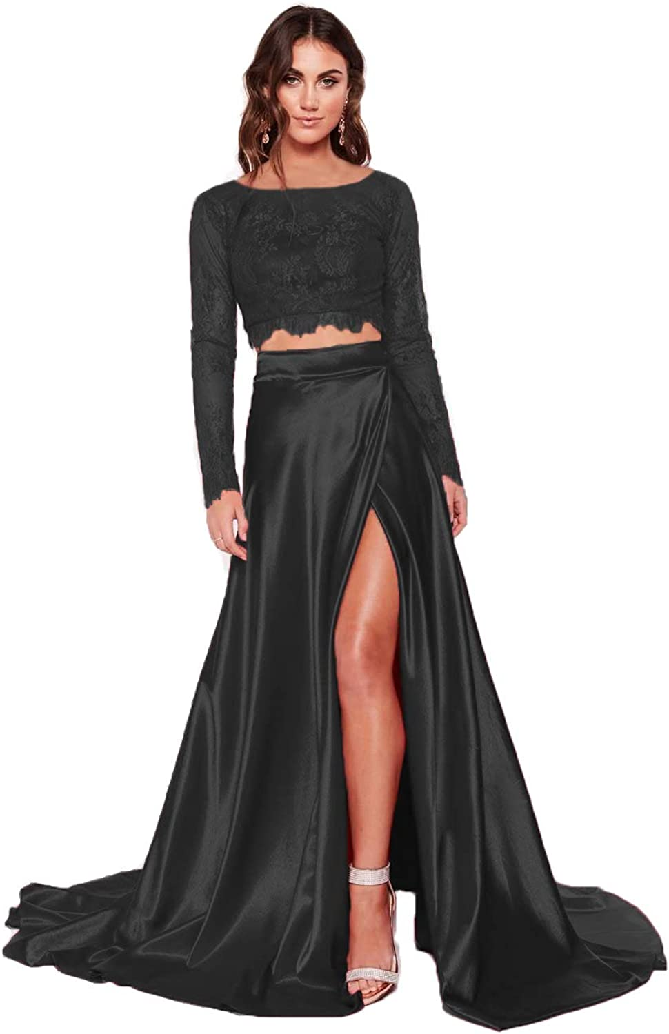 Clothfun Women's Lace Two Piece Prom Dresses 2021 Long Formal Dresses with Slit Evening Party Gowns with Pockets PM36