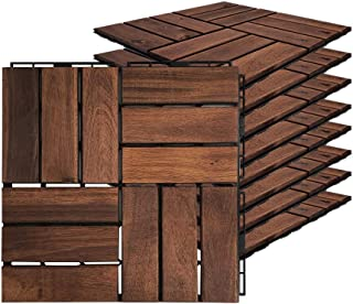 """Acacia Hardwood Interlocking Floor Tiles - for Patio and Deck Use, 11.8"""" x 11.8"""", Natural Wood Outdoor Decking and Floorin..."""