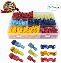 240Pcs T-Tap Wire Connectors,No Welding Quick Splice Electric Wire Terminals,Self-Stripping Insulated Male Quick Disconnect Spade Terminals Assortment Kit