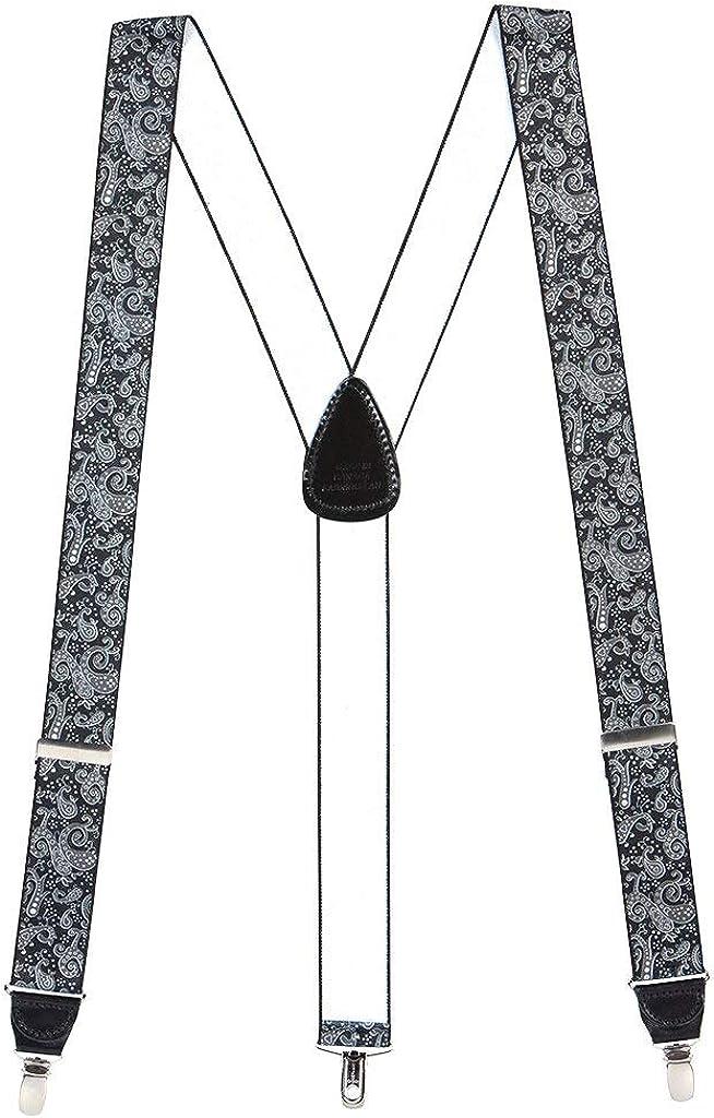 H. A. Sheldon Men's Black Paisley Drop Clip Suspenders
