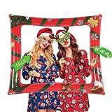 HOWAF Navidad Inflable Photo Booth Marco Selfie Gracioso Navidad Cabina de Fotos Marco Fotos Photocall Accesorios para Navidad Año Nuevo Fiesta Decoración Artículo
