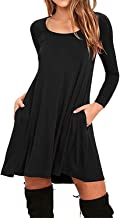 Jingjqingcao Chic Womens Cotton Loose Casual Pockets Pleated Swing Long Sleeve T-Shirt Dress
