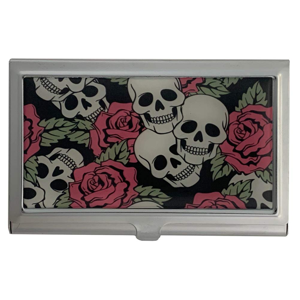 Skull and Max 55% OFF Roses ID Holder Metal Direct store Wallet Card Case Business