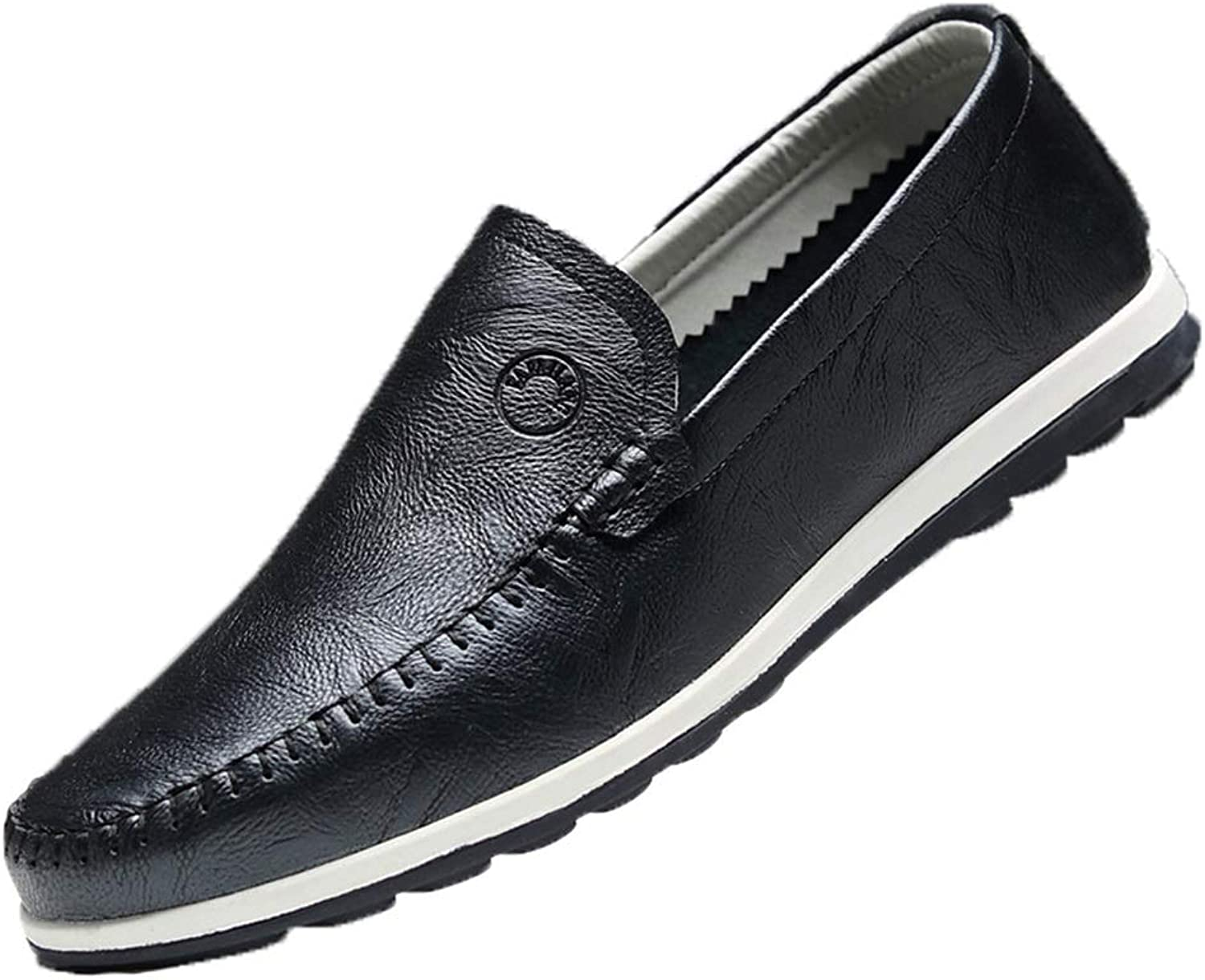 ZHRUI Mens Loafers Sole Casual Breathable Non Slip Genuine Leather Driving shoes (color   Black, Size   UK 5.5)
