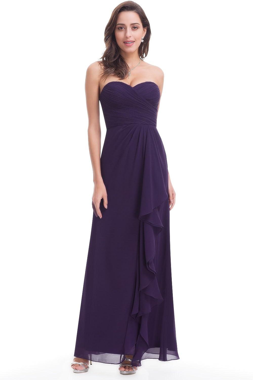 EverPretty Strapless Long Ruffle Evening Dress 07088