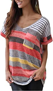 Buildhigh-women clothes V-Neck Relaxed-Fit T Shirts Stripes Pocket Cuffed Blouse Tops