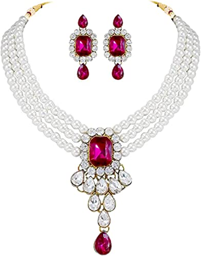 Crystal Pearl Choker Necklace Earring Traditional Jewellery Set for Women Girls