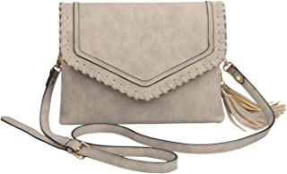 MONOBLANKS Leather Crossbody Bag with Tassel for Women Double Compartment Envelope Cluth Purse