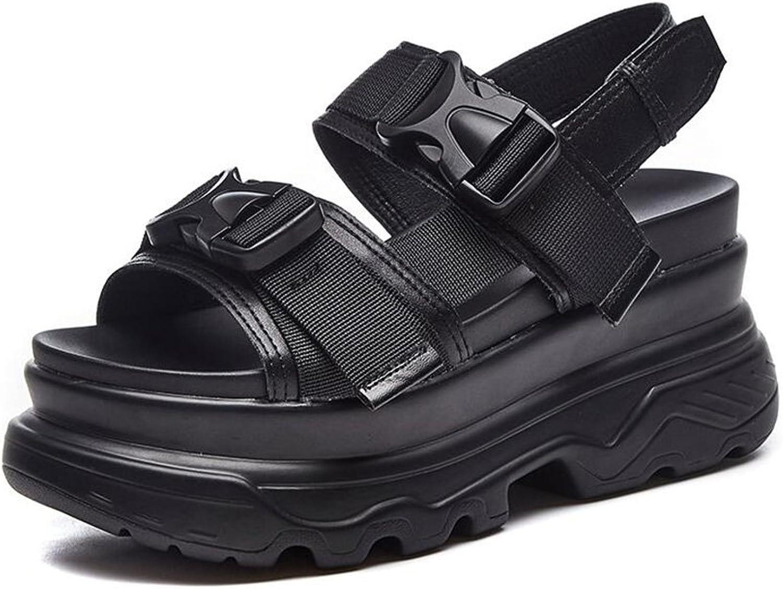 CJC Sandals Ladies Women's Peep Toe Sport shoes Wedge High Heels 8cm