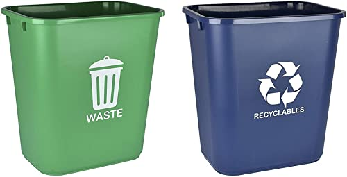 Acrimet Wastebasket Bin for Recycling and Waste 27QT (Plastic) (Green and Blue) (Set of 2)