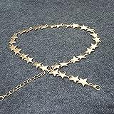 KESHOUJI cadena de cintura de estrella de cinco puntas de metal modelosfemeninos cadena de cintura delgada de mujer, oro