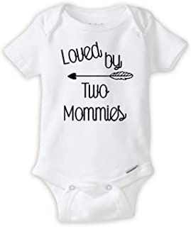 Loved by Two Mommys Romper LGBT Pride Baby Body Suit Great Lesbian Parents Gift idea