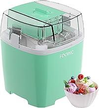 FOOING Machine à Glace 1.5L avec Bouton de Commutateur Rotatif (5 à 30 minutes), Machine à Crème Glacée à La Maison en Aci...