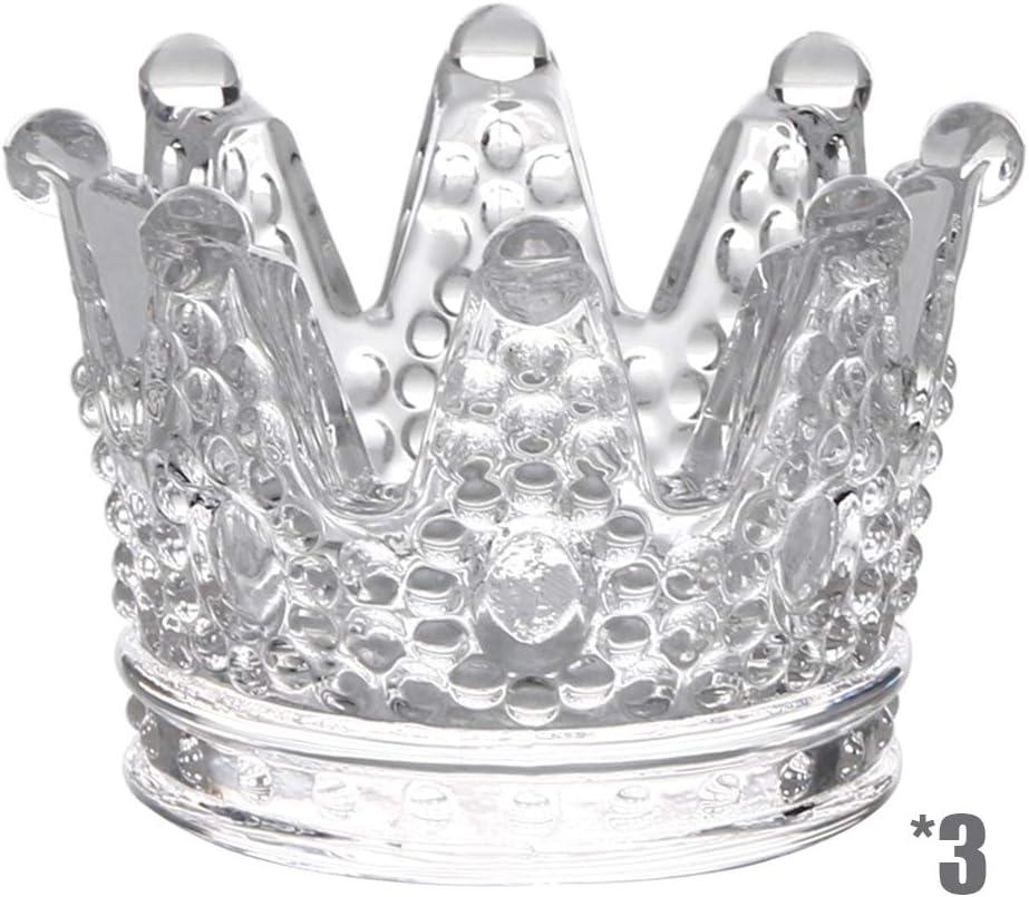 YOYT Cenicero de Cristal de Cristal Mini Corona Candelabro Decoración Joyero Hecho a Mano Personalizado Paquete de 3