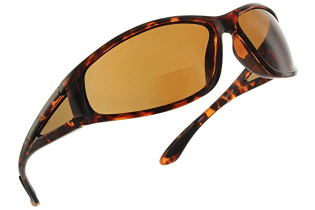 ed977a75085 Fiore Oceanside Polarized Wrap Nearly Invisible Line Bifocal Sunglass  Readers