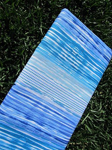PAGO POCO Überwurf, gestreift, für Einzelbett und Doppelbett, 100 % Baumwolle Singolo 170x260 hellblau