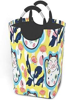 Panier à linge Happy Maneki Neko Cat Sourire mignon Grand panier à linge sale pliable Grand panier de rangement en tissu P...