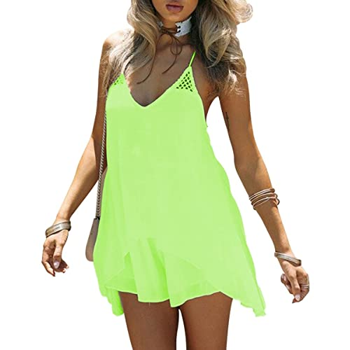 61cc16d6b0e Kingfung Women's Summer Casual Sundress Chiffon Sleeveless Tank Beach Shift  Dress