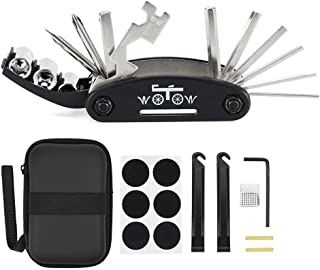 WOTOW Bike Repair Set Bag Bicycle Multi Function 16 in 1 Tool Kit Hex Key Wrench Tire Patch Lever Portable Handy Multi Tool Maintenance Fix Mini Set for Road Mountain Bikes